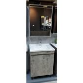 水泥紋不銹鋼面盆櫃連雙門鏡櫃套裝(BS250360466080CC)