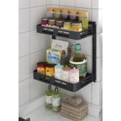廚房黑色掛牆兩層置物架(BT2240)